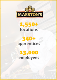 Marstons 1,550+ locations 340+ apprentices, 13,000 employees